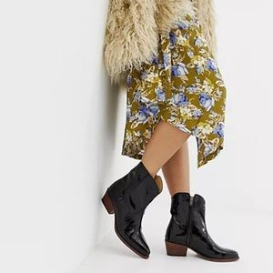 Free People Black Patent New Frontier Western Boot